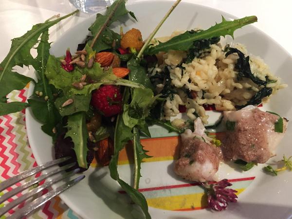 salade met paardenbloemblad en brandnetel risotto met tuincursus online